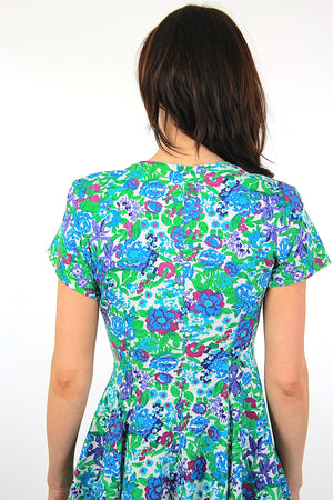 Vintage 80s blue floral  abstract grunge skater cotton  mini dress Medium - shabbybabe  - 5