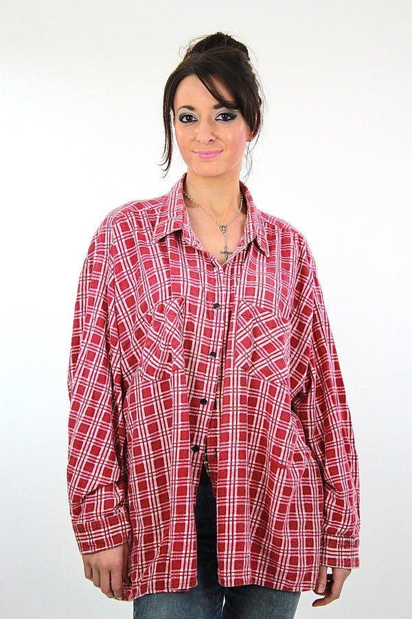 Vintage 90s grunge Red flannel shirt red white checkered oversize Large - shabbybabe  - 1