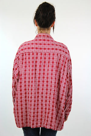 Vintage 90s grunge Red flannel shirt red white checkered oversize Large - shabbybabe  - 4