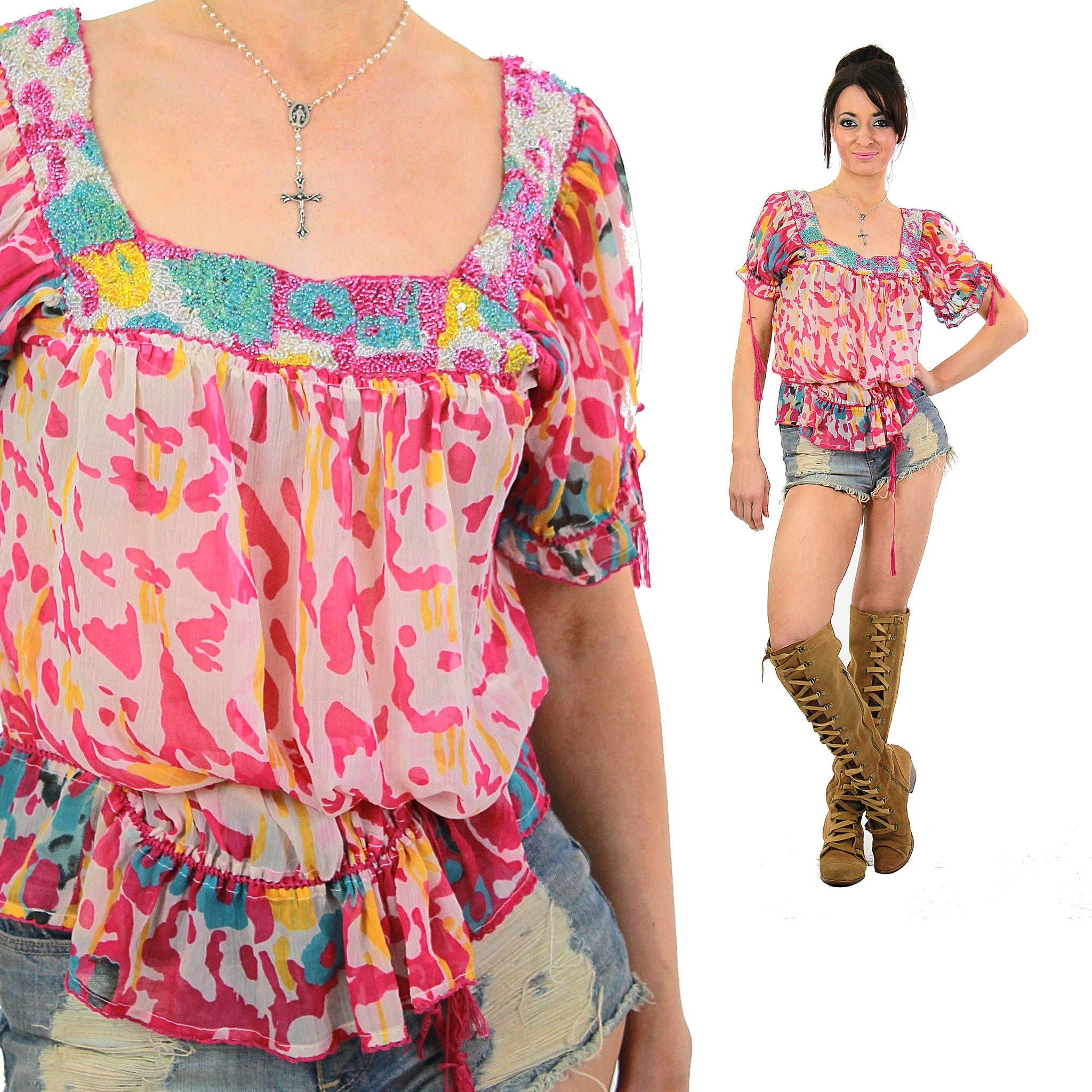 d5af1f9d54e Vintage 90s Hippie Boho sheer beaded drawstrip bohemian tunic top peasant  blouse