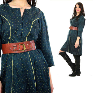 Vintage 70s Boho Hippie silk goth gothic navy blue witchy metallic dress - shabbybabe  - 5