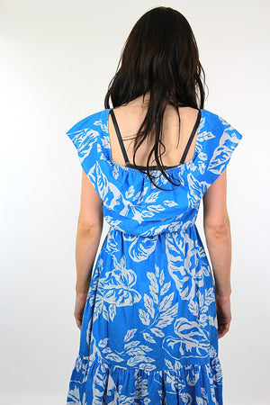 Vintage 70s blue tropical floral dress  sundress - shabbybabe  - 5
