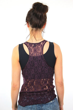 90s grunge goth purple sheer lace tank top shirt - shabbybabe  - 4