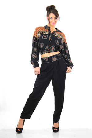 Vintage 80s patchwork crop harem pants beaded jumpsuit - shabbybabe  - 1