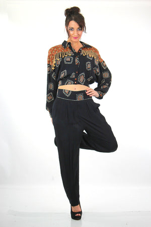 Vintage 80s patchwork crop harem pants beaded jumpsuit - shabbybabe  - 2