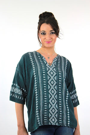 Vintage 70s mexican embroidered shirt tunic top - shabbybabe  - 1
