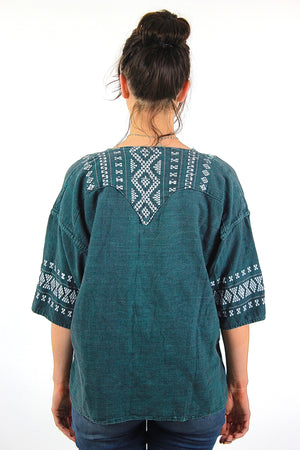 Vintage 70s mexican embroidered shirt tunic top - shabbybabe  - 4
