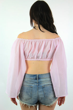 Off the Shoulder Floating Angel sleeve crop top - shabbybabe  - 5