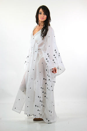 Sheer border floral white embroidered kimono dress Angel sleeve - shabbybabe  - 7