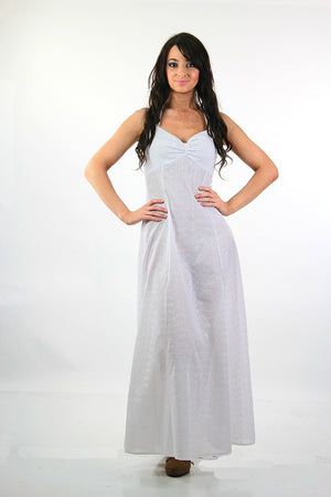 Boho bridal white eyelet lace halter maxi dress - shabbybabe  - 5