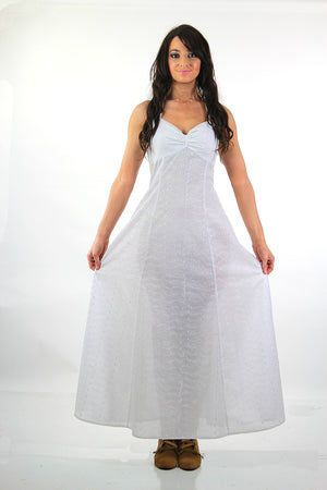 Boho bridal white eyelet lace halter maxi dress - shabbybabe  - 3