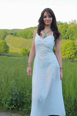 Boho bridal white eyelet lace halter maxi dress - shabbybabe  - 1