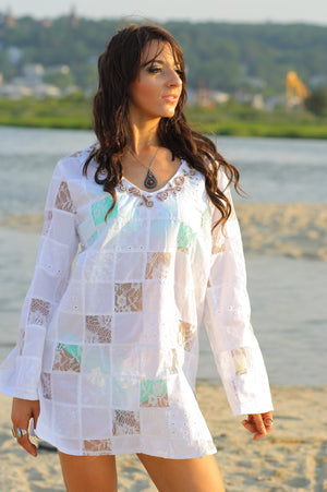 White lace patchwork angel sleeve beach cover tunic top dress - shabbybabe  - 2