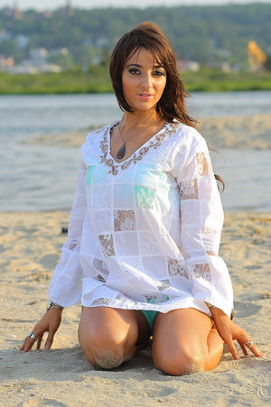 White lace patchwork angel sleeve beach cover tunic top dress - shabbybabe  - 3