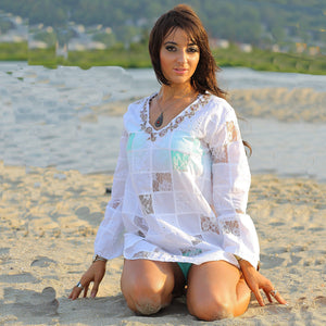 White lace patchwork angel sleeve beach cover tunic top dress - shabbybabe  - 1