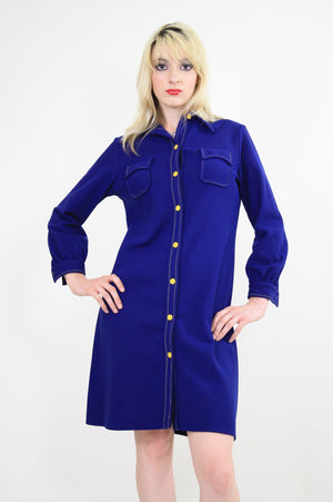 Vintage 60s Boho Mod Navy Blue shirt mini dress - shabbybabe  - 6