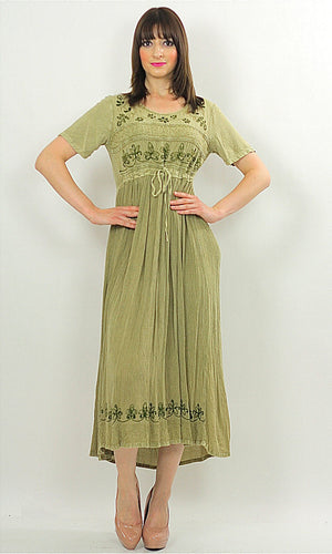 Vintage 90s Boho Hippie Gauze embroidered floral dress - shabbybabe  - 1