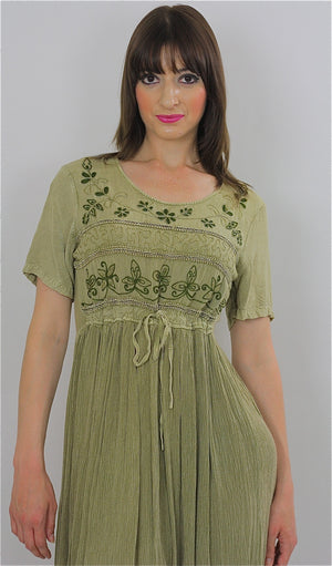 Vintage 90s Boho Hippie Gauze embroidered floral dress - shabbybabe  - 3