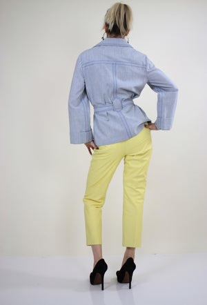 70s yellow leather pants slacks Lillie Rubin pleated - shabbybabe  - 3