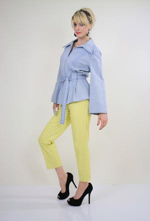 70s yellow leather pants slacks Lillie Rubin pleated - shabbybabe  - 4