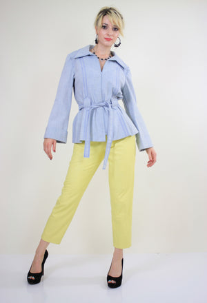 70s yellow leather pants slacks Lillie Rubin pleated - shabbybabe  - 5