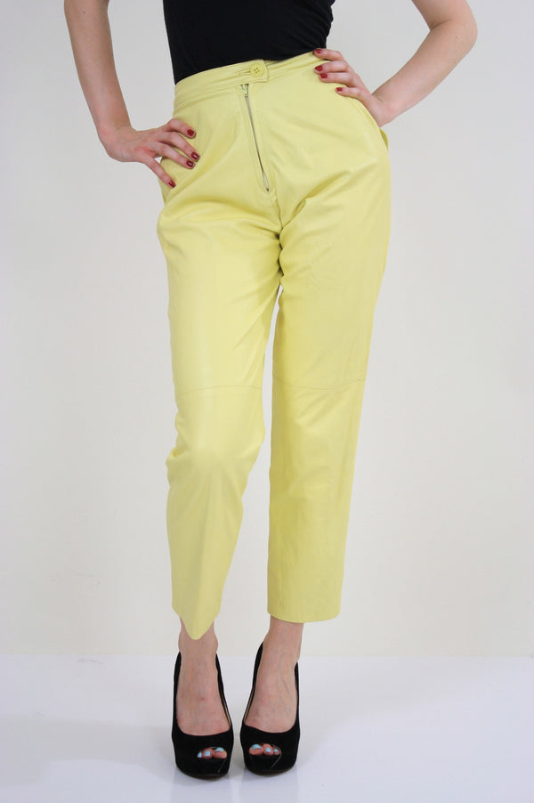 70s yellow leather pants slacks Lillie Rubin pleated - shabbybabe  - 1