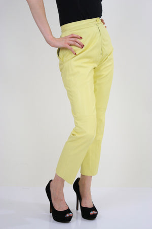 70s yellow leather pants slacks Lillie Rubin pleated - shabbybabe  - 2