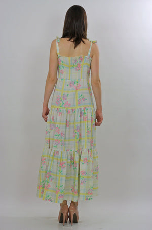 Vintage Boho Hippie plaid floral maxi dress sundress - shabbybabe  - 4