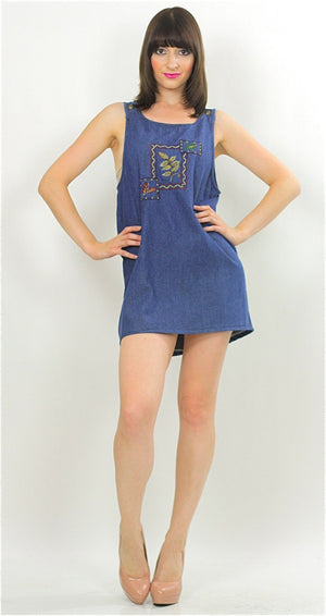Vintage 90s Grunge Boho Denim mini dress - shabbybabe  - 2