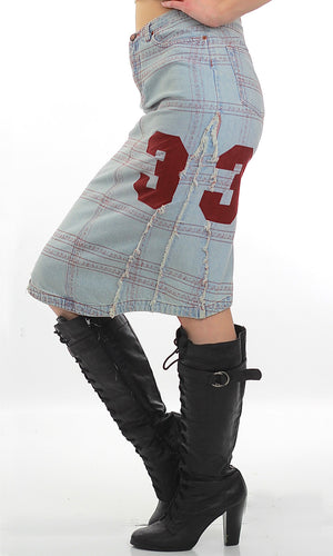 Vintage 90s Grunge Cotton denim patchwork skirt - shabbybabe  - 1