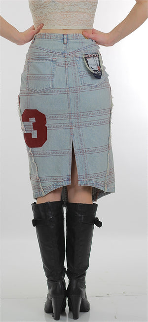 Vintage 90s Grunge Cotton denim patchwork skirt - shabbybabe  - 4