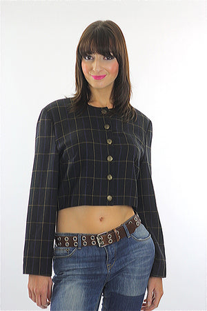 Vintage 90s Grunge Black plaid button crop jacket top - shabbybabe  - 2