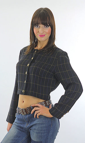 Vintage 90s Grunge Black plaid button crop jacket top - shabbybabe  - 1