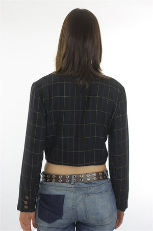 Vintage 90s Grunge Black plaid button crop jacket top - shabbybabe  - 4