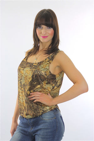 Vintage 90s Grunge gold metallic animal print tank top - shabbybabe  - 3