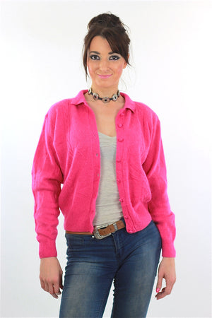 Pink Cardigan Sweater 80s Button up Angora Grunge - shabbybabe  - 1