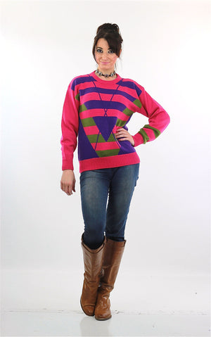 Pink Sweater top 80s abstract Striped pullover - shabbybabe  - 2