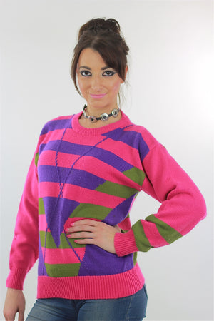 Pink Sweater top 80s abstract Striped pullover - shabbybabe  - 3