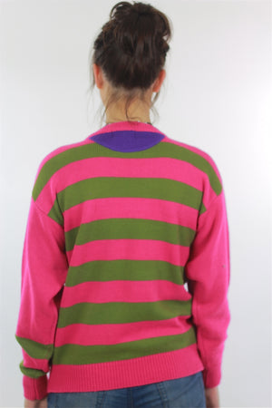 Pink Sweater top 80s abstract Striped pullover - shabbybabe  - 4