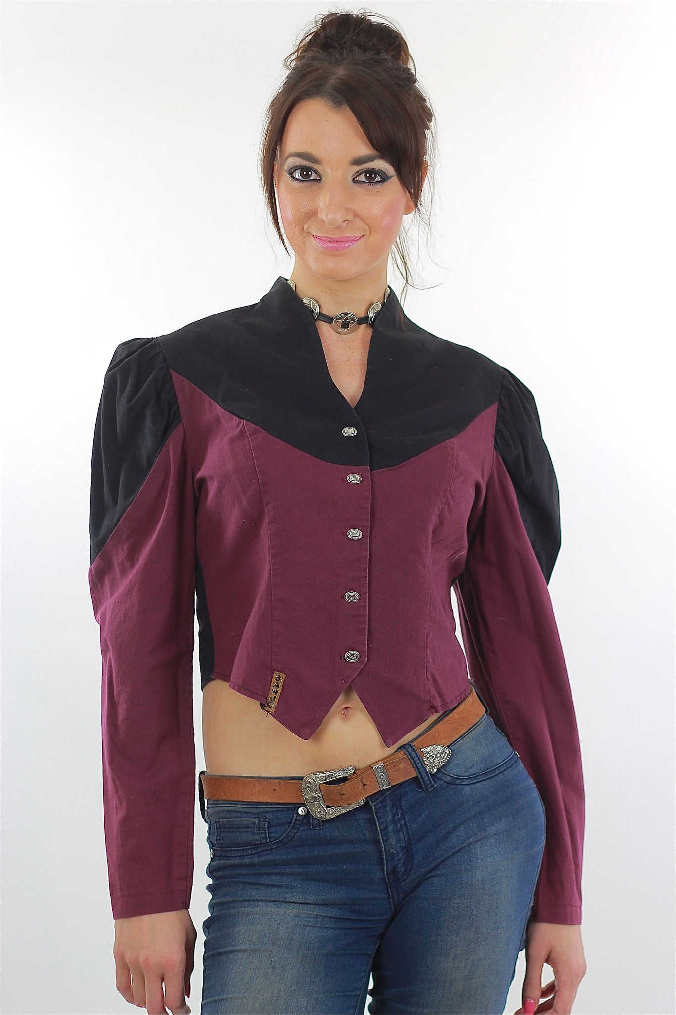 5d0a44b025aa2f 80s Western Concho Gothic Crop Top Colorblock Button Up - shabbybabe - 2