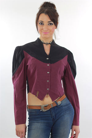 80s Western Concho Gothic Crop Top Colorblock Button Up - shabbybabe  - 2