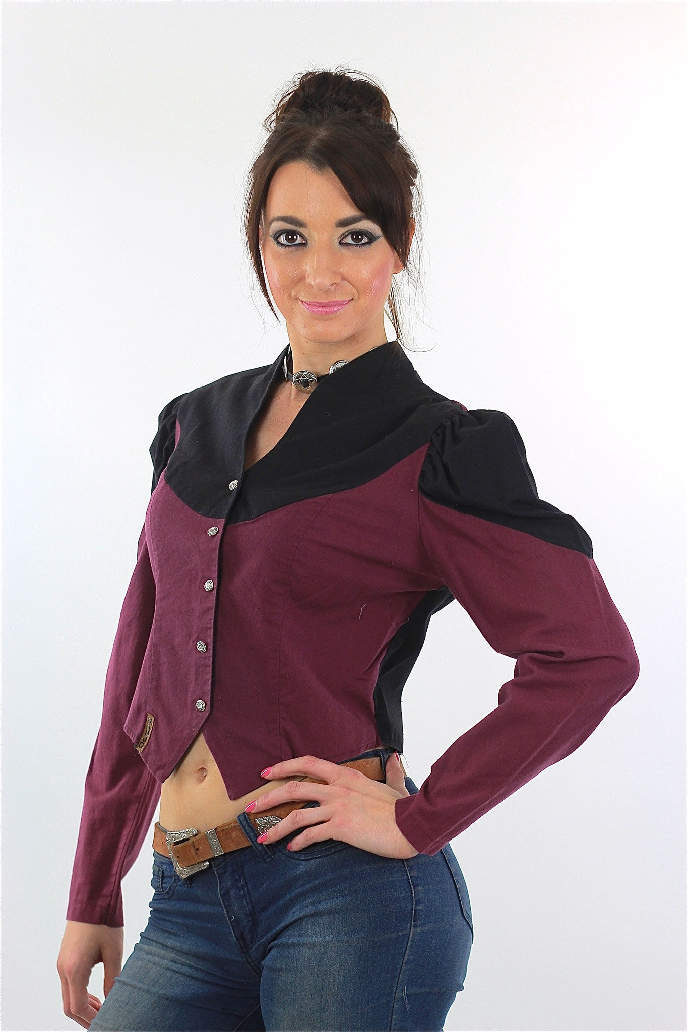 facbce68625ce8 80s Western Concho Gothic Crop Top Colorblock Button Up - shabbybabe - 1