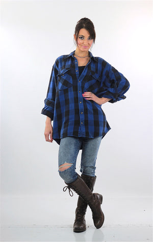 90s Grunge Blue buffalo Plaid flannel shirt Oversized - shabbybabe  - 2