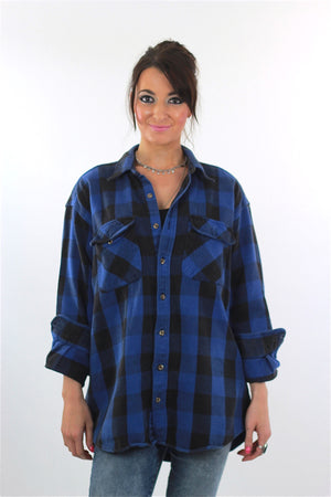 90s Grunge Blue buffalo Plaid flannel shirt Oversized - shabbybabe  - 1