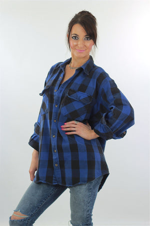90s Grunge Blue buffalo Plaid flannel shirt Oversized - shabbybabe  - 3