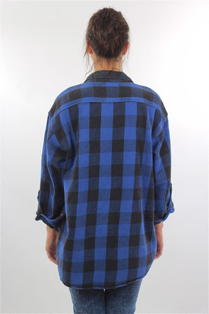 90s Grunge Blue buffalo Plaid flannel shirt Oversized - shabbybabe  - 4