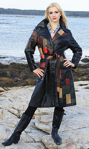 Vintage 70s Boho mod patchwork leather coat jacket - shabbybabe  - 1