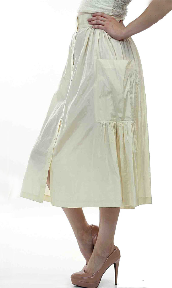 Vintage 80s  Boho white pleated party maxi skirt - shabbybabe  - 1