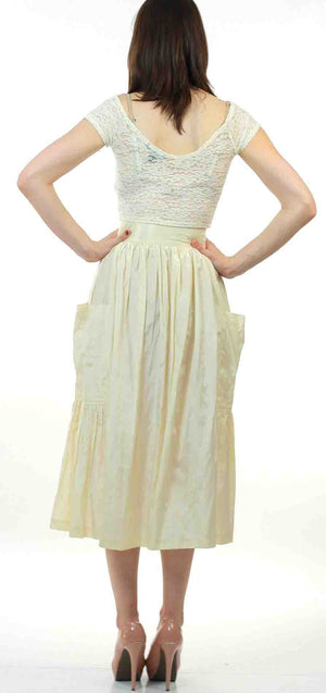 Vintage 80s  Boho white pleated party maxi skirt - shabbybabe  - 4