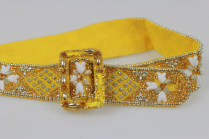 Vintage 60s heavily beaded fabric dress belt - shabbybabe  - 2